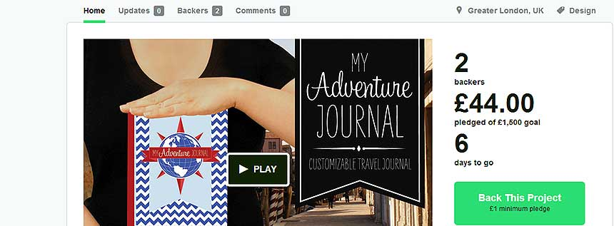 "kickstarter adventurejournal - ""My Adventure Journal"" - Kickstarter Kampagne"